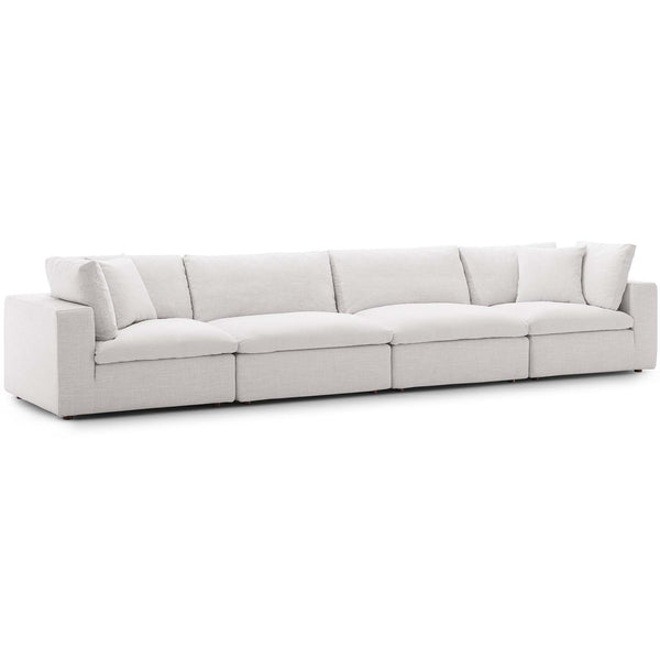 Modway EEI-3357-BEI Commix Down Filled Overstuffed 4 Piece Sectional Sofa Set