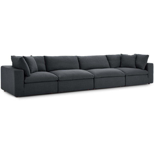Modway EEI-3357-GRY Commix Down Filled Overstuffed 4 Piece Sectional Sofa Set