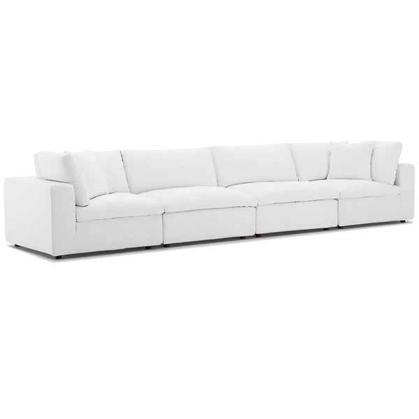 Modway EEI-3357-WHI Commix Down Filled Overstuffed 4 Piece Sectional Sofa Set