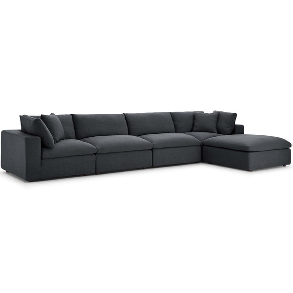 Modway EEI-3358-GRY Commix Down Filled Overstuffed 5 Piece Sectional Sofa Set
