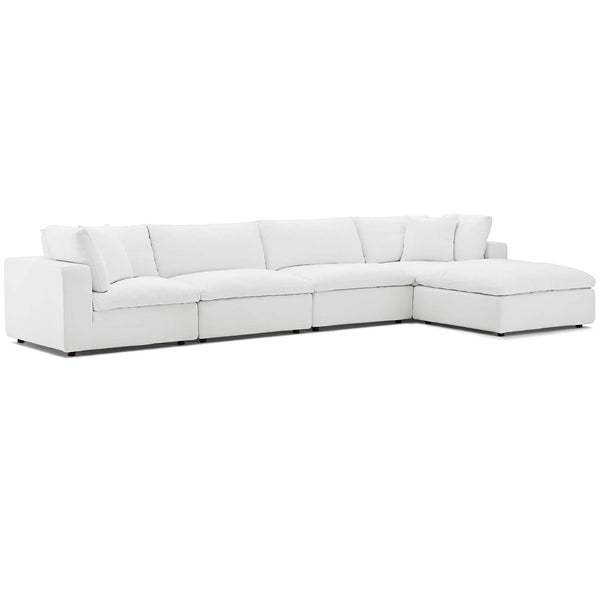 Modway EEI-3358-WHI Commix Down Filled Overstuffed 5 Piece Sectional Sofa Set
