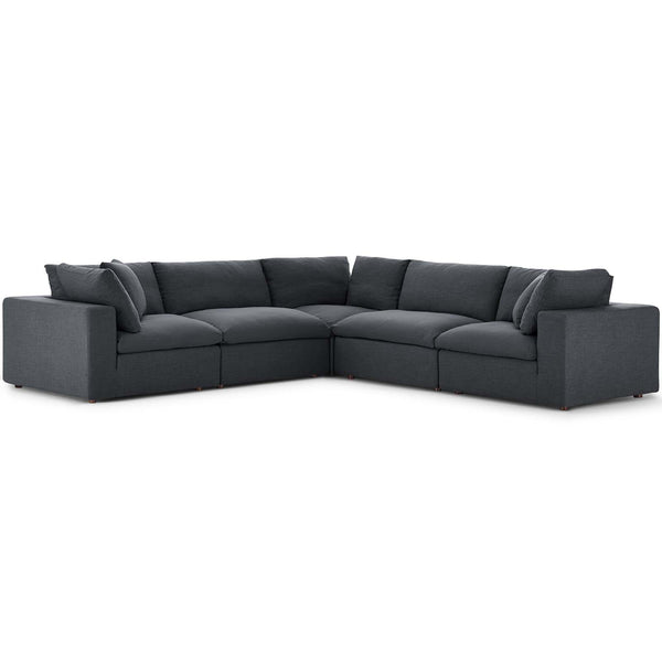 Modway EEI-3359-GRY Commix Down Filled Overstuffed 5 Piece Sectional Sofa Set