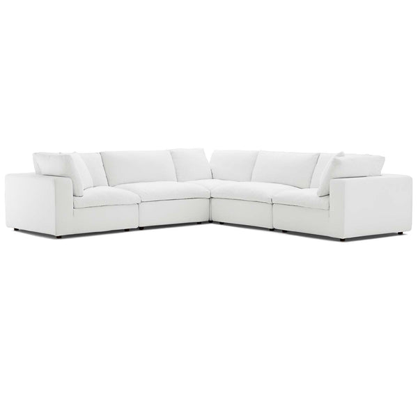 Modway EEI-3359-WHI Commix Down Filled Overstuffed 5 Piece Sectional Sofa Set