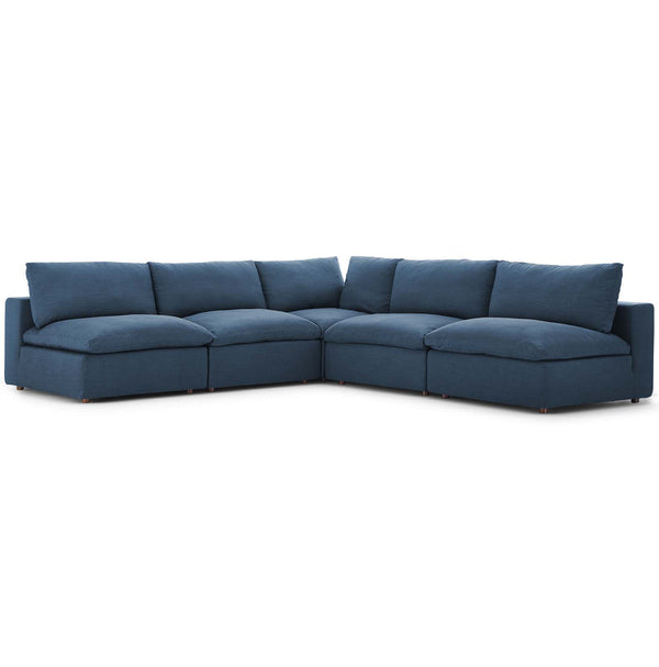 Modway EEI-3360-AZU Commix Down Filled Overstuffed 5 Piece Sectional Sofa Set