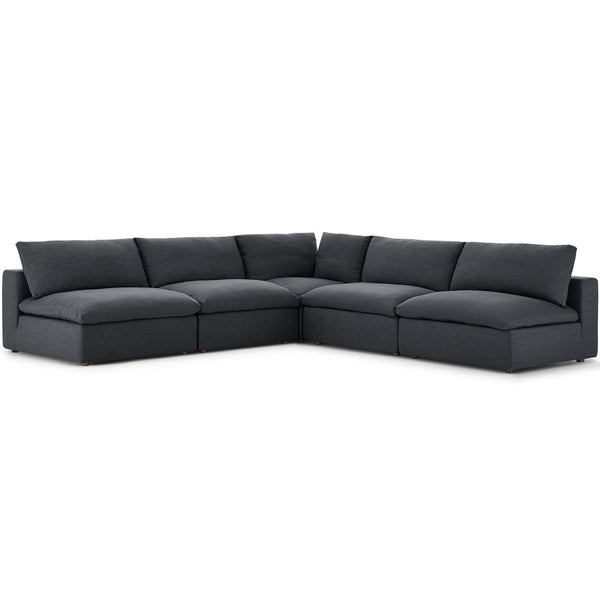 Modway EEI-3360-GRY Commix Down Filled Overstuffed 5 Piece Sectional Sofa Set