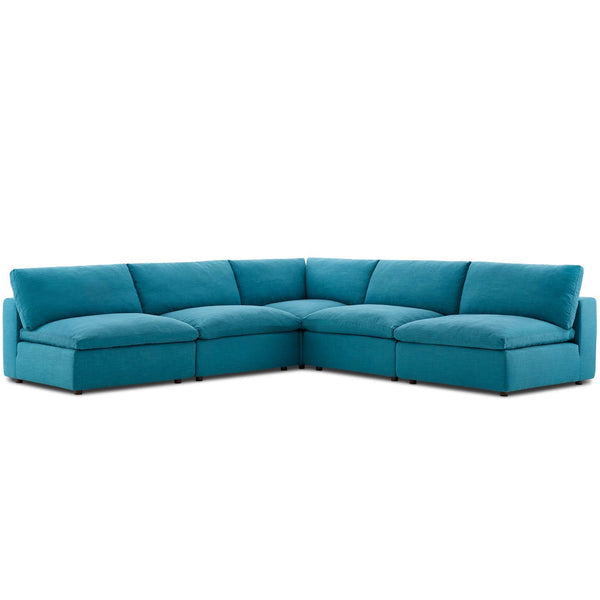 Modway EEI-3360-TEA Commix Down Filled Overstuffed 5 Piece Sectional Sofa Set