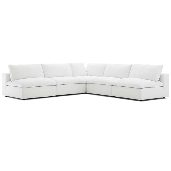 Modway EEI-3360-WHI Commix Down Filled Overstuffed 5 Piece Sectional Sofa Set