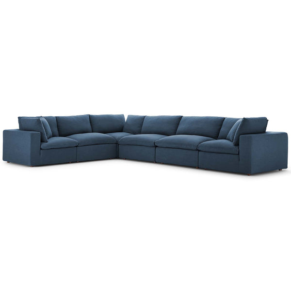Modway EEI-3361-AZU Commix Down Filled Overstuffed 6 Piece Sectional Sofa Set