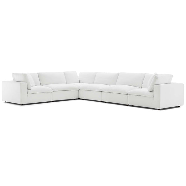 Modway EEI-3361-WHI Commix Down Filled Overstuffed 6 Piece Sectional Sofa Set