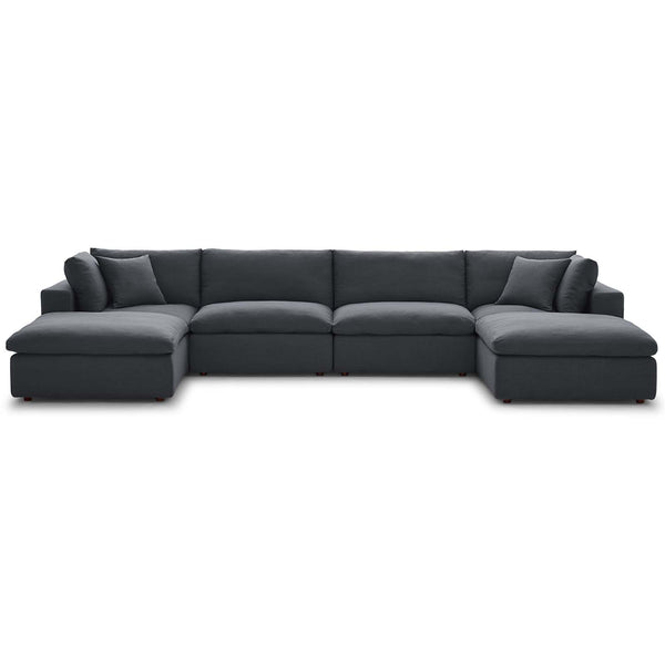 Modway EEI-3362-GRY Commix Down Filled Overstuffed 6 Piece Sectional Sofa Set