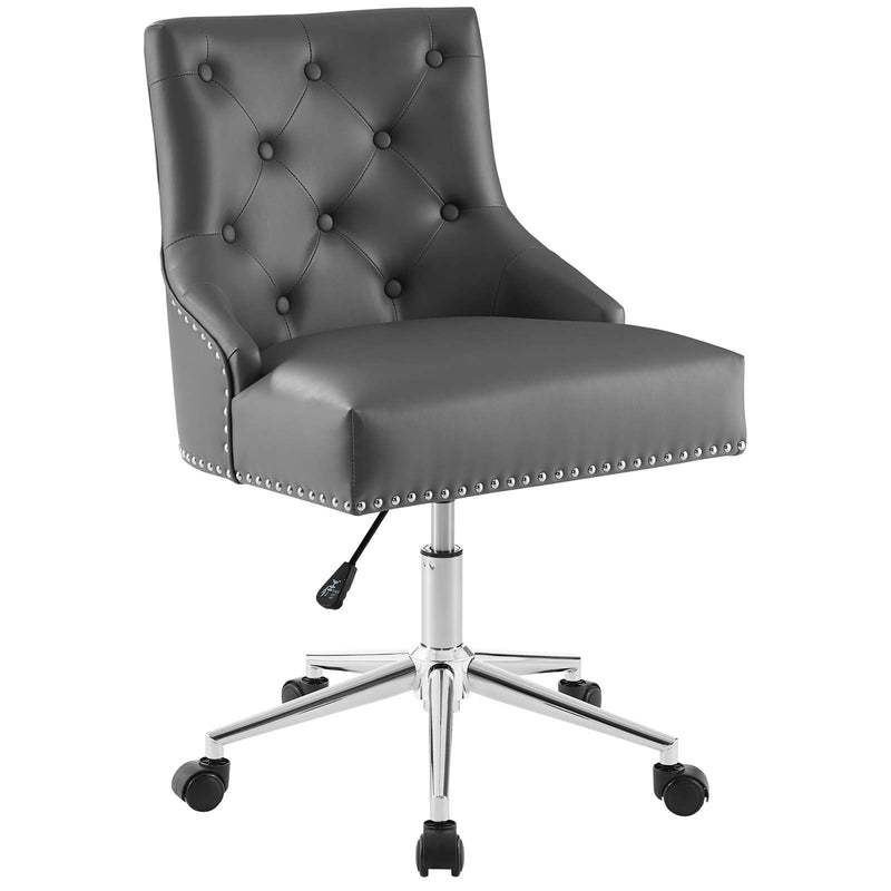 Modway Regent Tufted Button Swivel Faux Leather Office Chair in Gray