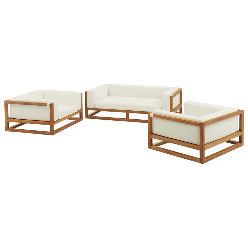 Modway Newbury 3 Piece Outdoor Patio Set in Natural White