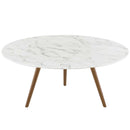 "Modway Lippa 36"" Round Artificial Marble Coffee Table with Tripod Base in Walnut White"
