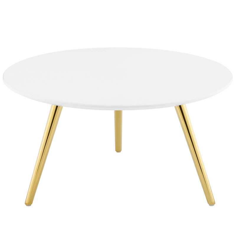 "Modway Lippa 28"" Round Wood Top Coffee Table with Tripod Base in Gold White"