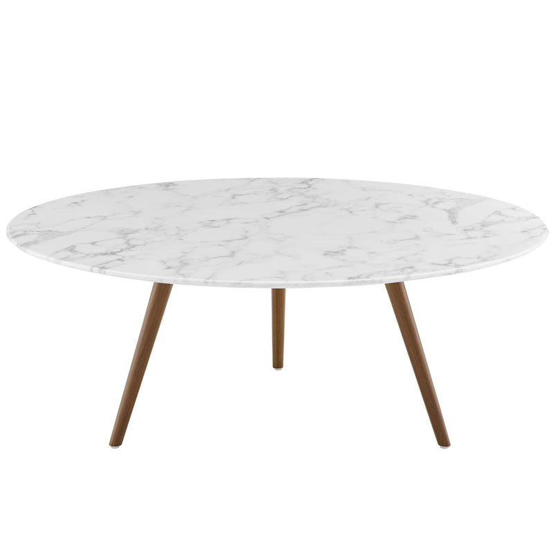 "Modway Lippa 40"" Round Artificial Marble Coffee Table with Tripod Base in Walnut White"