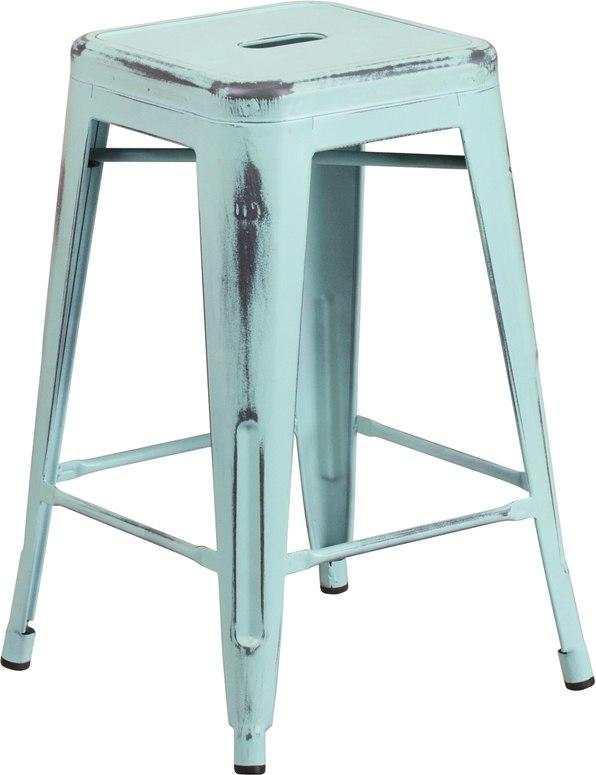 Flash Furniture ET-BT3503-24-DB-GG 24'' High Backless Distressed Green-Blue Metal Indoor-Outdoor Counter Height Stool