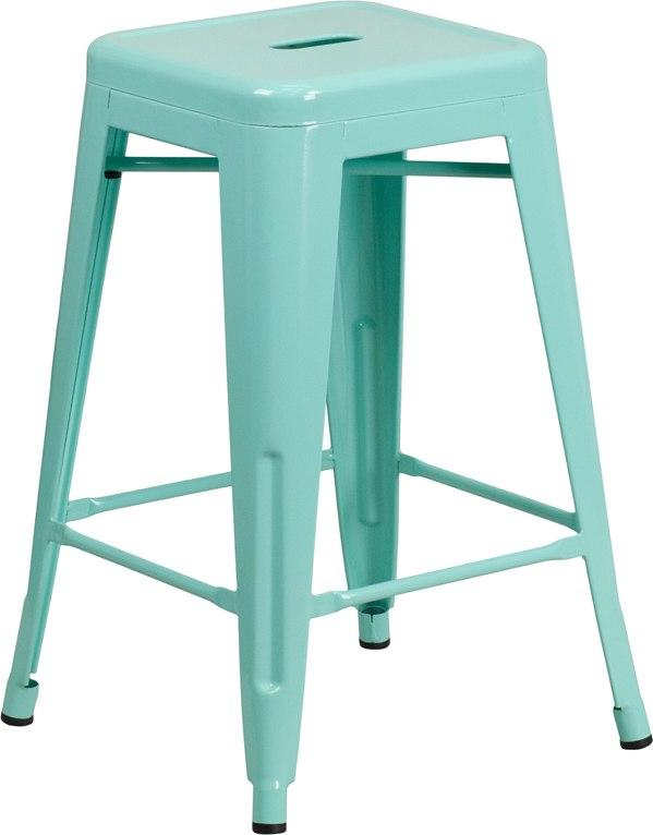Flash Furniture ET-BT3503-24-MINT-GG 24'' High Backless Mint Green Indoor-Outdoor Counter Height Stool
