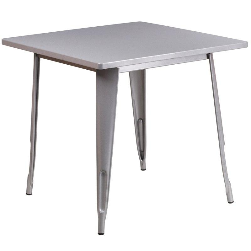 Flash Furniture ET-CT002-1-SIL-GG 31.5'' Square Silver Metal Indoor-Outdoor Table