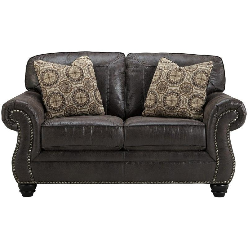 Flash Furniture FBC-8009LS-CH-GG Benchcraft Breville Loveseat in Charcoal Faux Leather
