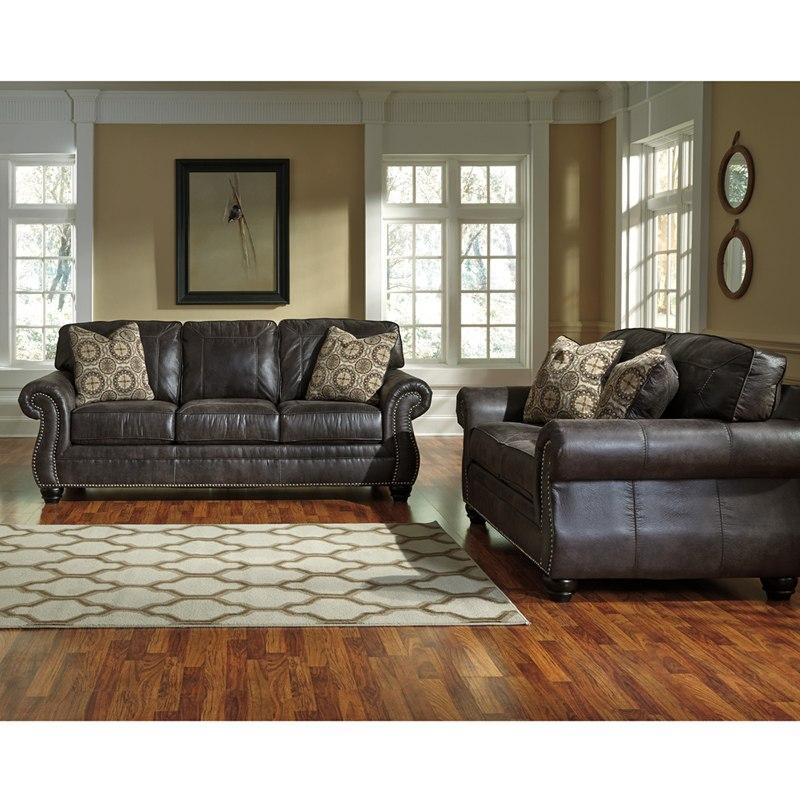 Flash Furniture FBC-8009SET-CH-GG Benchcraft Breville Living Room Set in Charcoal Faux Leather