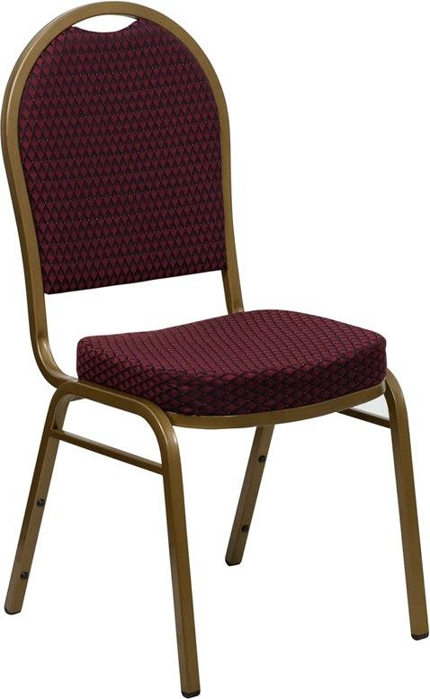 Flash Furniture FD-C03-ALLGOLD-EFE1679-GG HERCULES Series Dome Back Stacking Banquet Chair in Burgundy Patterned Fabric - Gold Frame