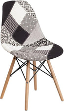 Flash Furniture FH-130-DCV1-PK4-GG Elon Series Turin Patchwork Fabric Chair with Wood Base