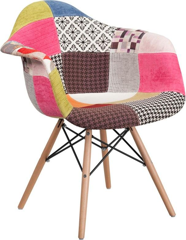Flash Furniture FH-132-DCV1-D-GG Alonza Series Milan Patchwork Fabric Chair with Wood Base