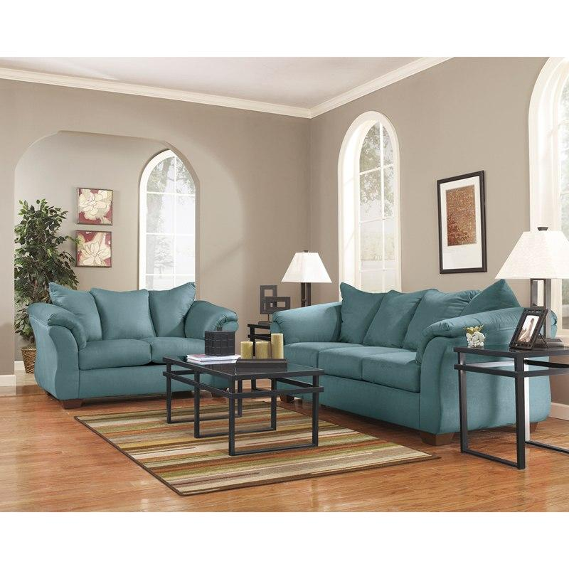 Flash Furniture FSD-1109SET-SKY-GG Signature Design by Ashley Darcy Living Room Set in Sky Microfiber