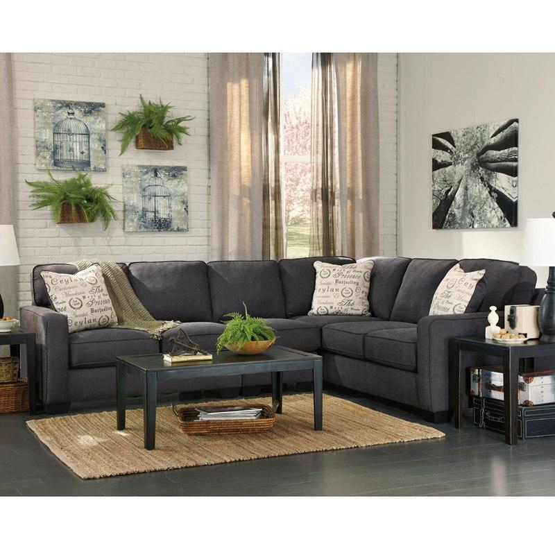 Flash Furniture FSD-1669SEC-3RAFS-CH-GG Signature Design by Ashley Alenya 3-Piece Right Side Facing Sofa Sectional in Charcoal Microfiber