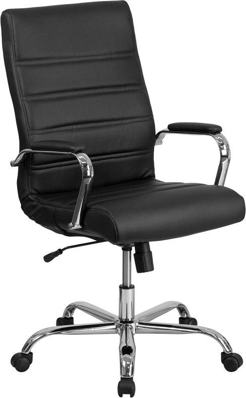 Flash Furniture GO-2286H-BK-GG High Back Black Leather Executive Swivel Chair with Chrome Base and Arms
