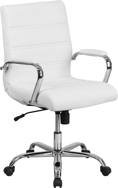 Flash Furniture GO-2286M-WH-GG Mid-Back White Leather Executive Swivel Chair with Chrome Base and Arms