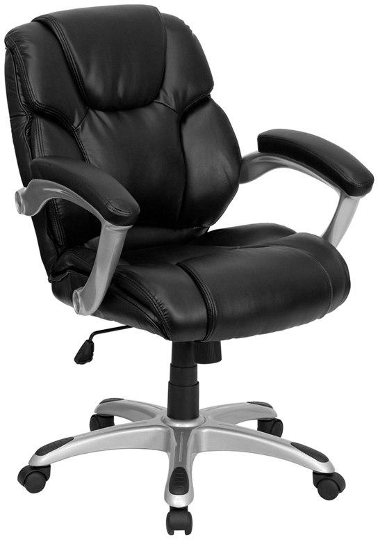 Flash Furniture GO-931H-MID-BK-GG Mid-Back Black Leather Swivel Task Chair with Arms