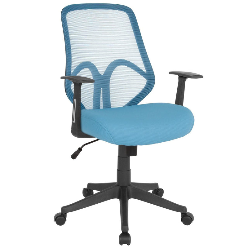 Flash Furniture GO-WY-193A-A-LTBL-GG Salerno Series High Back Light Blue Mesh Chair with Arms