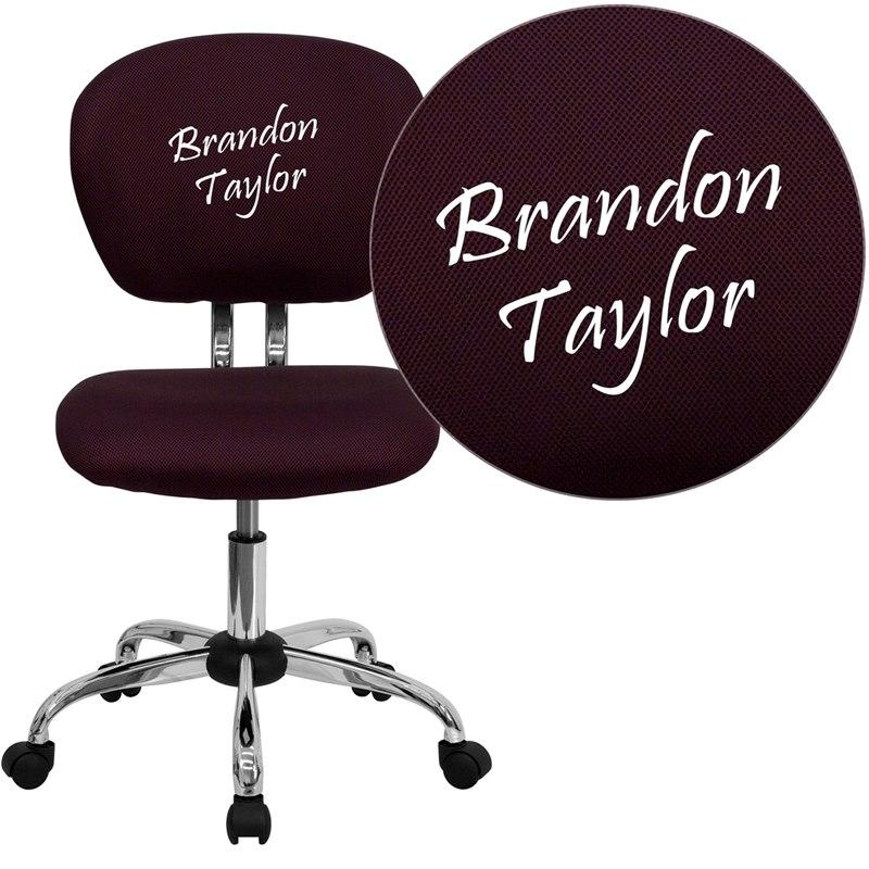 Flash Furniture H-2376-F-BY-TXTEMB-GG Personalized Mid-Back Burgundy Mesh Swivel Task Chair with Chrome Base
