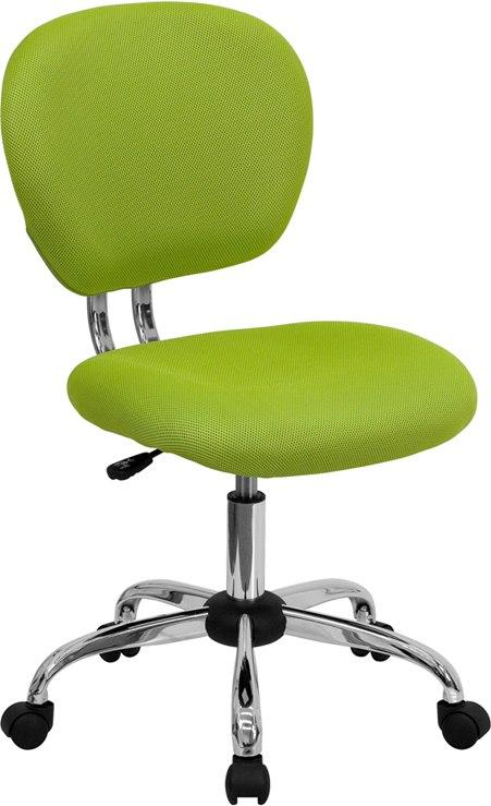 Flash Furniture H-2376-F-GN-GG Mid-Back Apple Green Mesh Swivel Task Chair with Chrome Base