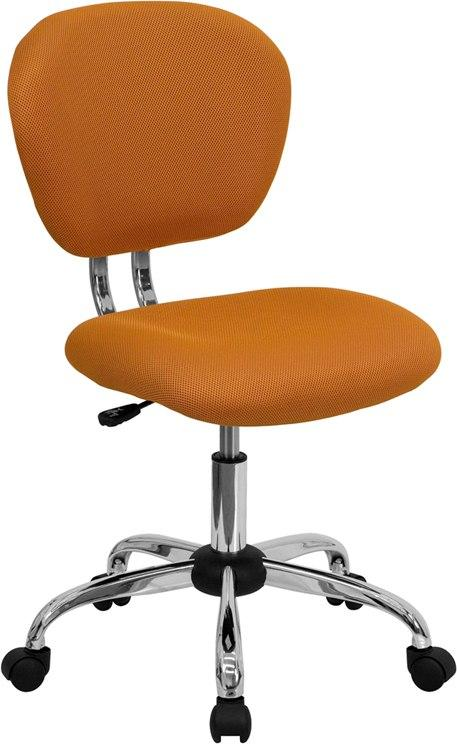Flash Furniture H-2376-F-ORG-GG Mid-Back Orange Mesh Swivel Task Chair with Chrome Base