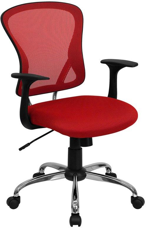 Flash Furniture H-8369F-RED-GG Mid-Back Red Mesh Swivel Task Chair with Chrome Base and Arms
