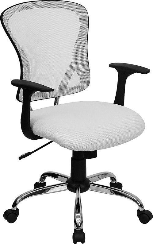 Flash Furniture H-8369F-WHT-GG Mid-Back White Mesh Swivel Task Chair with Chrome Base and Arms