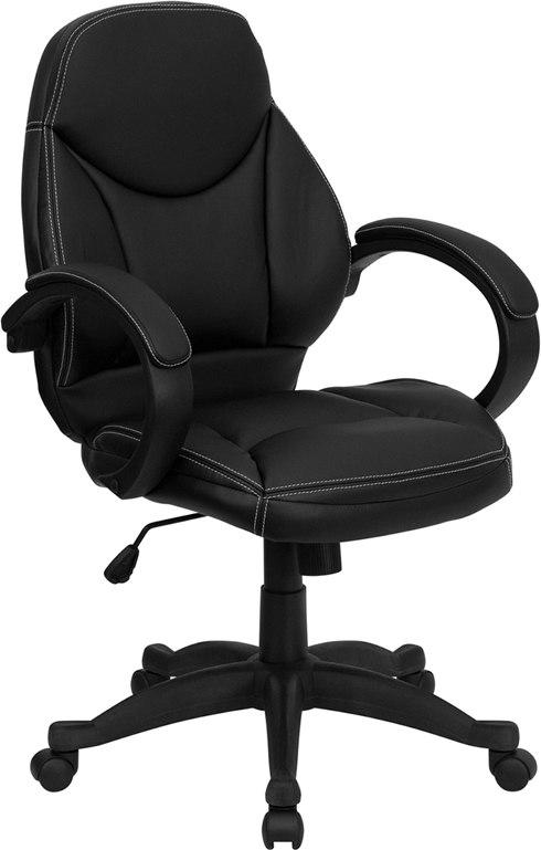 Flash Furniture H-HLC-0005-MID-1B-GG Mid-Back Black Leather Contemporary Executive Swivel Chair with Arms