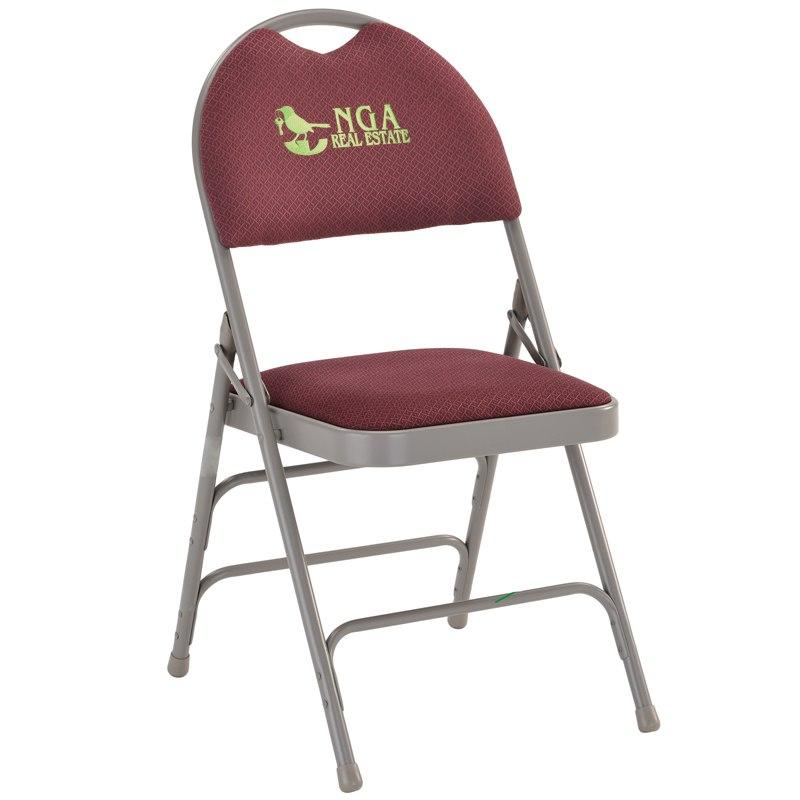 Flash Furniture HA-MC705AF-3-BY-EMB-GG Embroidered HERCULES Series Ultra-Premium Triple Braced Burgundy Fabric Metal Folding Chair with Easy-Carry Handle