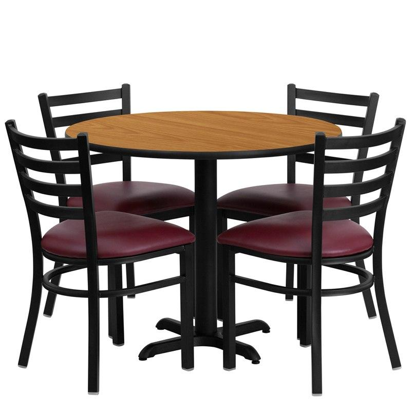 Flash Furniture HDBF1007-GG 36'' Round Natural Laminate Table Set with 4 Ladder Back Metal Chairs - Burgundy Vinyl Seat