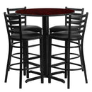Flash Furniture HDBF1022-GG 30'' Round Mahogany Laminate Table Set with 4 Ladder Back Metal Barstools - Black Vinyl Seat