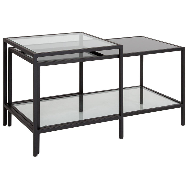 Flash Furniture HG-112345-GG Westerly Multi-Tiered Glass Coffee Table with Black Metal Frame