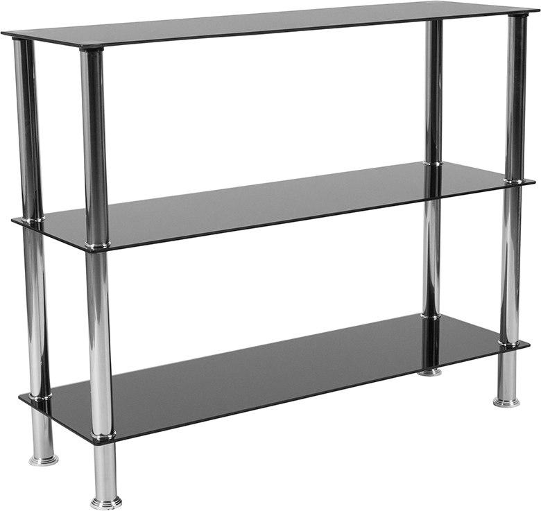 Flash Furniture HG-112354-GG Riverside Collection Black Glass Storage Shelves with Stainless Steel Frame
