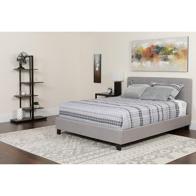 Flash Furniture HG-BM-10-GG Chelsea Full Size Upholstered Platform Bed in Light Gray Fabric with Pocket Spring Mattress