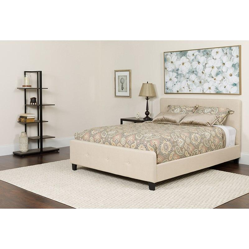 Flash Furniture HG-BM-17-GG Tribeca Twin Size Tufted Upholstered Platform Bed in Beige Fabric with Pocket Spring Mattress