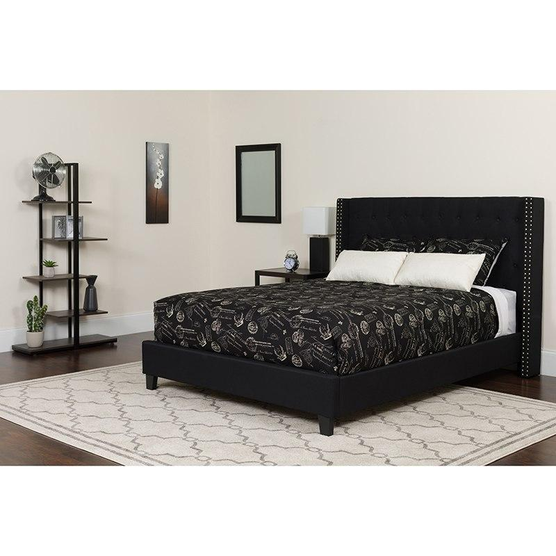 Flash Furniture HG-BM-39-GG Riverdale Queen Size Tufted Upholstered Platform Bed in Black Fabric with Pocket Spring Mattress