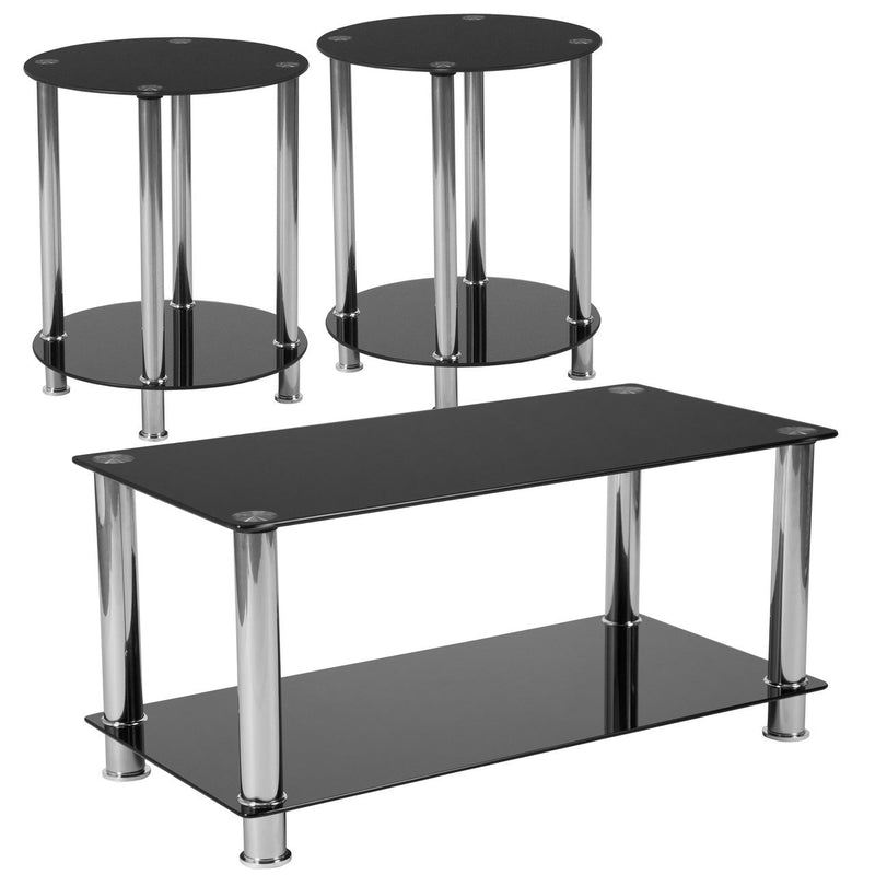 Flash Furniture HG-CEK-18-GG Riverside Collection 3 Piece Coffee and End Table Set with Black Glass Tops and Stainless Steel Frames