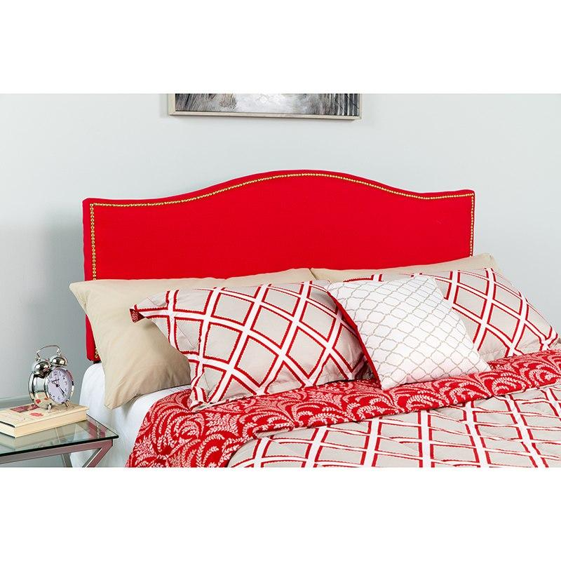 Flash Furniture HG-HB1707-F-R-GG Lexington Upholstered Full Size Headboard with Accent Nail Trim in Red Fabric