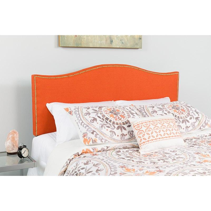 Flash Furniture HG-HB1707-K-O-GG Lexington Upholstered King Size Headboard with Accent Nail Trim in Orange Fabric